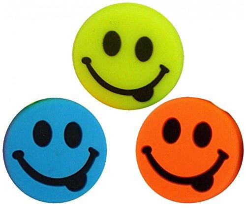 3 Smiley Vibrationsdämpfer Emoji orange lime blau