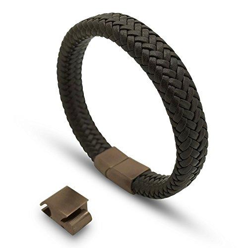 Armband Herren Damen Schwarz und Braun Magnetisch Edelstahl. Armreifen Männer Frauen Galeara design RIX series (Braun, 215) -