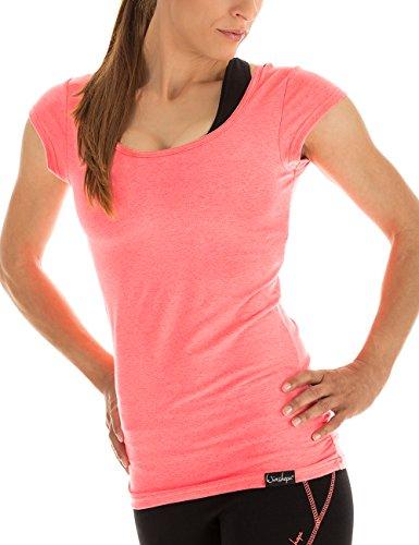 Winshape Damen Kurzarmshirt WTR4 Fitness Freizeit Yoga Pilates,Rosa(Neon Coral),S
