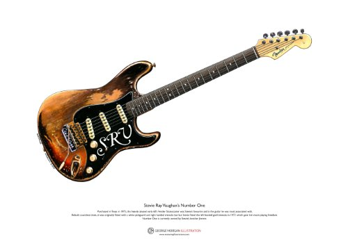 George Morgan Illustration Stevie Ray Vaughan Stratocaster Nummer eins ART POSTER A3-Format