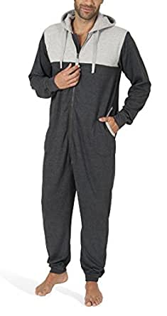 sloucher jumpsuit herren aus baumwolle langarm onesie f r m nner gem tlicher einteiler mit. Black Bedroom Furniture Sets. Home Design Ideas