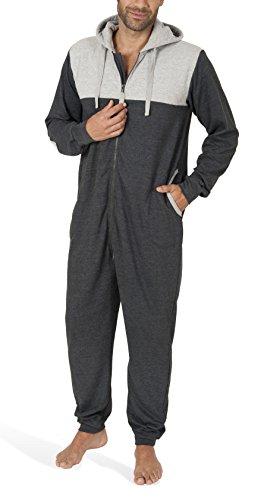 SLOUCHER - Herren Jumpsuit Onesie Overall Einteiler Hausanzug aus Baumwolle mit Reißverschluss und Kapuze, Größe:L, Farbe:anthrazit-Melange