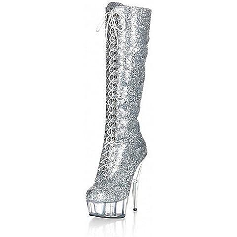 GS~LY Mujer-Tacón Stiletto-Tacones / Plataforma / Botas a la Moda-Botas-Boda / Vestido / Fiesta y Noche-Materiales Personalizados-Negro / Plata , silver-us10.5 / eu42 / uk8.5 / cn43 , silver-us10.5 / eu42 / uk8.5 /