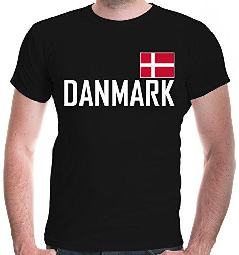 buXsbaum Herren T-Shirt Dänemark | Denmark Danemark Danmark Dinamarca Europa | Ländershirt Fanshirt Flagge | L, Schwarz