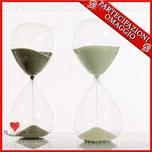 Cuorematto - clessidre grandi in vetro con sabbia bianca e grigia in 3 dimensioni, bomboniere solidali matrimonio 2019, con scatola regalo inclusa (standard-con confezione bianca)