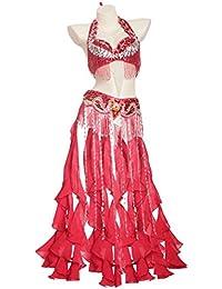Traje de Danza del Vientre para Mujer Rendimiento Profesional Cinturón Superior del Sujetador 2 pcs Dancewear