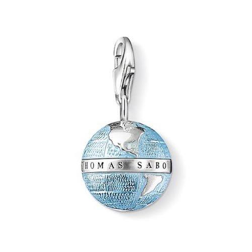 Thomas Sabo Damen-Charm-Anhänger Weltkugel Charm Club 925 Sterling Silber geschwärzt blau 0754-007-1