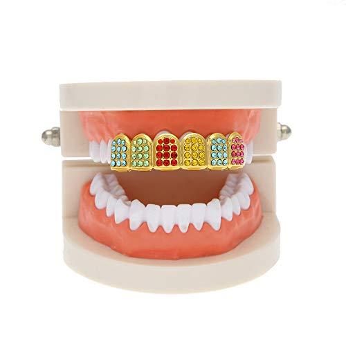 EliaSan Personal Care 6 Zahnvergoldete Hip Hop-Zahnkappe mit Diamant-Zahnschmuck