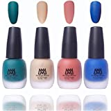 Makeup Mania Premium Nail Polish Velvet Matte Nail Paint Combo (Green, Blue, Nude, Peach, Pack of 4)