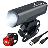RYDANO USB Rechargeable Bike Light Set Anti-Glare Bright LED Front Bicycle Light & Rechargeable Back Rear Light Easy Install & Quick Release Mount Compact Headlight Taillight Cycling Set