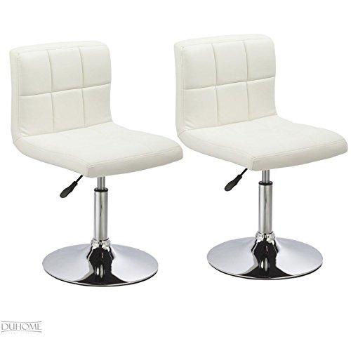 Duhome 0632 2er Set Küchenstuhl / Esszimmerstuhl aus Kunstleder in WEISS