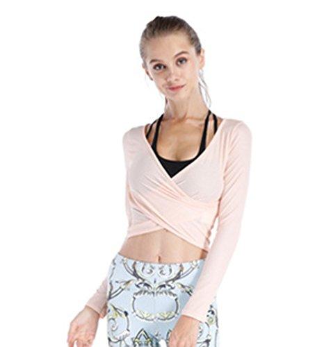 Dooxi Donna Casual Maniche Lunghe Jogging Fitness T-shirt Fast Dry Traspirante Danza Yoga Sport Crop Tops Albicocca