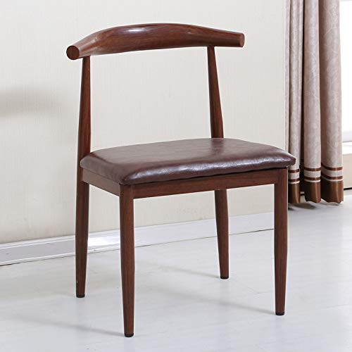 seeksungm Chair, Single imitation wood Horn Chair, Low Carbon Eco-Friendly Restaurant Chair, simple Casual Armchair, Total height 75 cm * Width 47 cm, light brown leather Old Elm