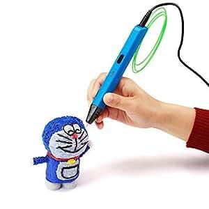 NexGadget Intelligent 3D Stift, Freihand 3D Zeichnungen, 3D Druck Feder Kompatibel mit ABS Filament + 3 Free 1.75mm Glühfaden Refills,Printing Pen (FR Blau)