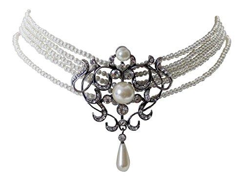 Trachtenschmuck Perlen Collier Kropfkette weiß im Antikstil Perle und Strasskristalle