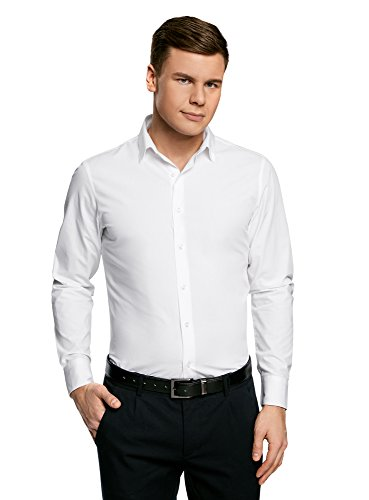 Oodji ultra uomo camicia basic extra slim, bianco, 40cm/it 46/eu 40/s