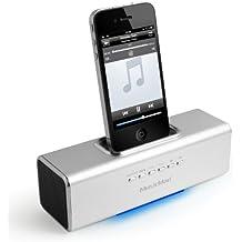 Technaxx MusicMan Docking - Altavoz portátil con base para Apple iPod/iPhone (batería integrada, MP3, adaptador USB y microSD), plateado