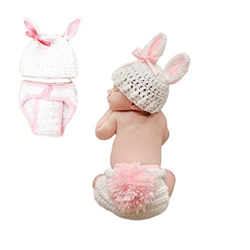 FYGOOD Fotografie Outfits, Baby Kostüm, Neugeborene Baby Kostüm Tier Weiße Hase 0-3 Monate