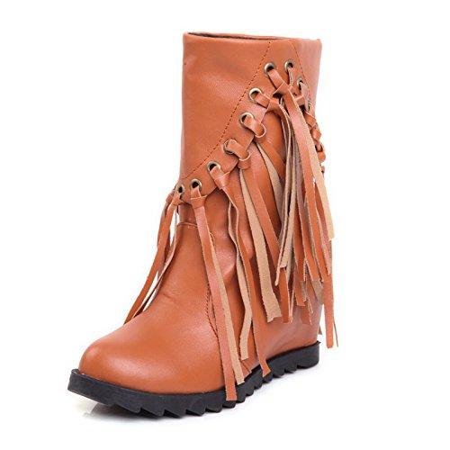ZQ@QXcadeau de Noël L'Europe et de l'United States Code boots boots manchon perforé a augmenté en tassel