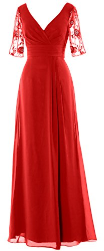 MACloth Women Half Sleeves Long Mother of the Bride Dress V Neck Formal Gown red