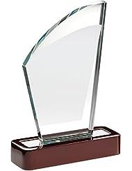 """Cristal vela con forma de placa trofeo en base de madera, 6.75"""""""