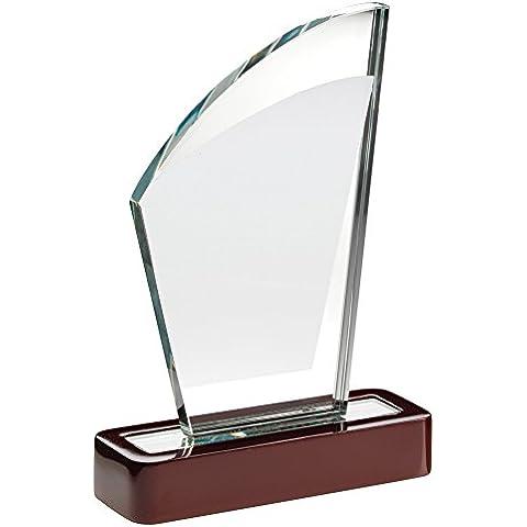 Cristal vela con forma de placa trofeo en base de madera, 6.75