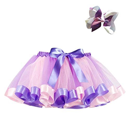 Fuibo Baby Halloween Kleidung, Mädchen Kinder Tutu Party Dance Ballett Kleinkind Baby Kostüm Rock + Bow Haarnadel Set (7T, Purple)