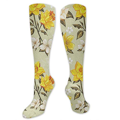 ouyjian The Little Wild Flowers Narcissus Socks Women's Winter Cotton Long Tube Socks Cotton Solid & Patterned Dress Socks Wild Flower Dress
