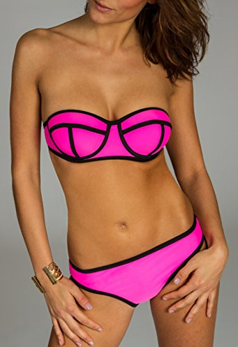 CASPAR BIK003 Damen Bandage Bikini Set Pink