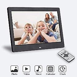SeeKool Cadres Photo Numériques 10 Pouces Écran Haute Définition 1024x768 avec Télécommande, Affichage Photo/Musique/Vidéo, Calendrier du Lecteur, Alarme, Support USB et Carte SD
