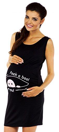 Zeta Ville Maternité - Robe tunique de grossesse motif humour imprimé femme 900c Noir