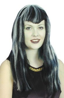 Vampiress V Cut Fringe Black w/ White Streaks Fancy Dress Vampire Dracula Hal...
