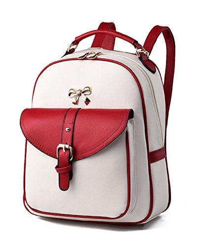 Keshi Pu neuer Stil Schulrucksäcke/Rucksack Damen/Mädchen Vintage Schule Rucksäcke mit Moderner Streifen für Teens Jungen Studenten Weinrot 1