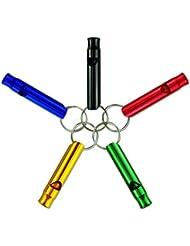 10 PC mezcla de aluminio supervivencia de la emergencia del silbido, llavero para la excursión que acampa (Multicolor)