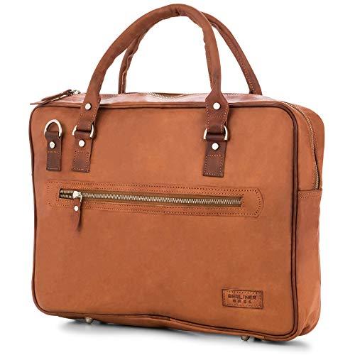 Laptoptasche Berliner Bags Madrid Leder 15 Zoll Aktentasche Businesstasche Umhängetasche Handtasche Vintage Braun Herren Damen