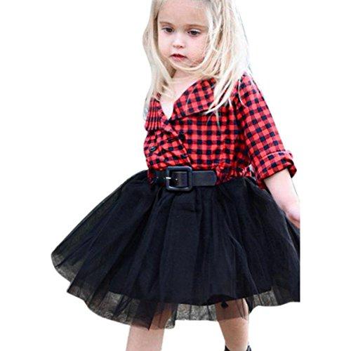 Longra Kleinkind Kinder Baby Mädchen Kleidung Langarm Plaid Patchwork Party Prinzessin Kleid Kostüm Tutu Kleid (2-6Jahre) (110CM 4Jahre, (Tanz Tier Kostüme)