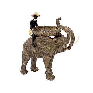 Große Deko-Figur Reiter Auf Elefant Dekoration Afrika Indien Figur Safari Skulptur Garten Deko Kind Schale Statue Ablage Deko-Elefanten Junge Afrikanisch Indisch Brillibrum
