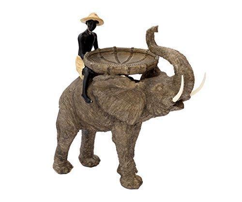 Brillibrum Design Große Deko-Figur Reiter Auf Elefant Dekoration Afrika-Figur Safari Skulptur Mit Schale Statue Ablage Deko-Elefanten Junge Afrikanisch-Dekofigur