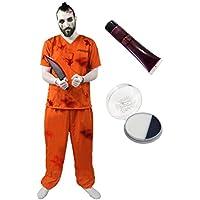 Déguisement accessoires pour adulte de prisonnier Américain en zombie avec une tenue orange + un couteau ensanglanté de 38cm + des menottes + du maquillage + du faux sang. Idéal pour les fêtes d'Halloween ou les enterrements de vie de garçon.