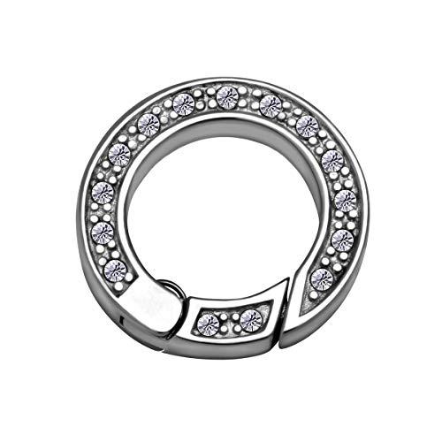 Quiges Clip Ring Carrier Edelstahl 17 mm Edelstahl Verbindungsring für Kette und Coin Anhänger mit Kristall Zirkonia