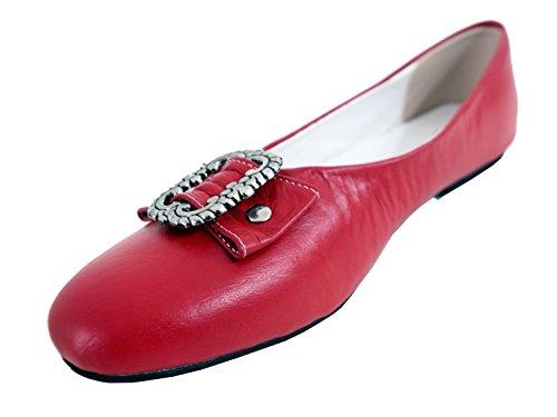 Damen Trachtenschuhe Dirndl Schuhe Trachten Ballerinas Echtes Rindnappaleder Premium, Rot, Gr.39