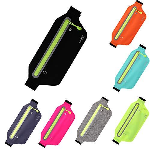 UxradG Leichte ultradünne Sport-Gürteltasche, Wasserdichte Laufende Tasche elastischer Bügel mit Kopfhörer-Loch Hüfttasche Gürtel(Black) -