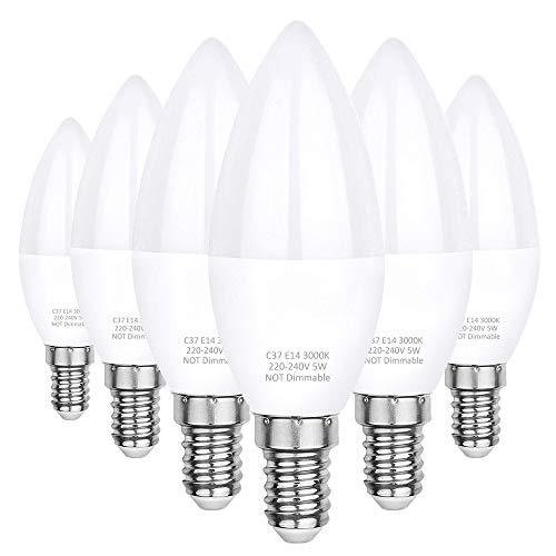 E14 LED Kerze Glühbirne, 5W ersetzt 40W, 500LM 3000K Warmweiß, C37 LED Brine Kleine Edison Schraube nicht dimmbar E14 Lampe warmweiss Opal Abdeckung Aluminium Innenstruktur, 6er-Pack