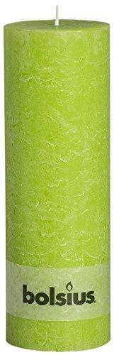 Rustikal 103867210374Stumpenkerze, Paraffin Wachs, lime grün