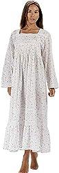 The 1 for U 100% Baumwolle Viktorianisches Stil Nachthemd mit Taschen - Violett- XS - XXXL - Lila Rose, L
