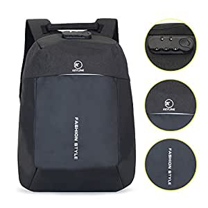 KEYLINE Anti Theft Lock Black Color Laptop Bag - Slim Business Computer Backpack with Laptop Compartment & USB Charging Cable and Port - Water Proof Travel Bag