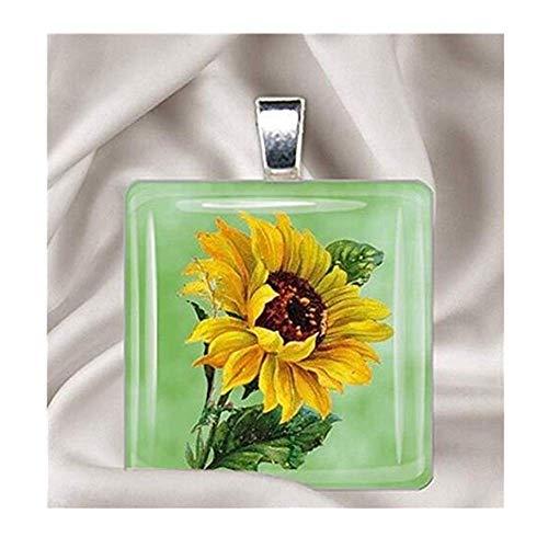 Painted Sunflower-Glass Tile Anhänger Halskette -