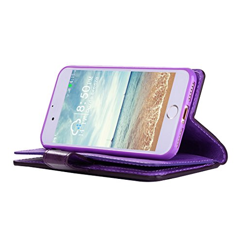 iPhone 6S Plus Hülle Leder, iPhone 6 Plus Case, Rosa Schleife Premium 9 Kartensteckplatz Zipper Geldbörse Ledertasche Brieftasche Handyhülle Etui Schutzhülle Flip Wallet Cover mit Handschlaufe für iPh Lila