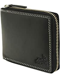 68079fa935722e Volmer ® Schwarze Ledergeldbörse aus echtem Rindnappa- Leder mit stabilen  Außen-Reißverschluss