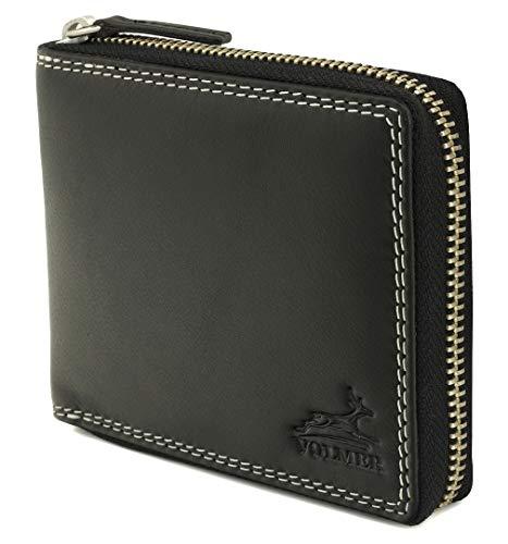 Fa.Volmer ® Black Leather Wallet aus echtem Rindsleder - Mit robustem externem Reißverschluss sowie RFID-Schutz - TÜV-Zertifikat - # BlZip07 -